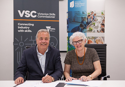 Victorian Skills Commissioner Neil Coulson and VRQA Chief Executive Officer (Director) Lynn Glover