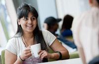 Student having a coffee break